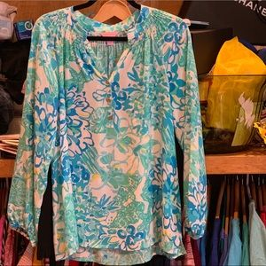 Lilly Pulitzer Elsa Silk Blouse In A Pinch